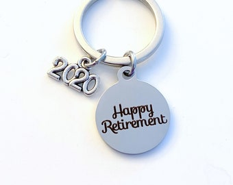 Retirement Keychain, 2020 Gift for New Career or Job promotion Key Chain, Birthstone Initial Present She believed she could so she did can