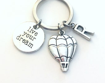 Live Your Dream Keychain, Balloon Key Chain, Hot Air Balloon Keyring, Dream Up Jewelry, Gift for Motivational Purse Charm Planner her him