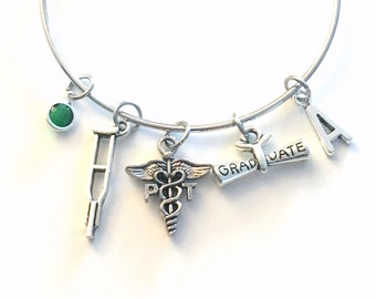 Graduation Gift for PT Bracelet, Physical Therapy Jewelry, Therapist Assistant Charm Bangle, Silver Crutches Crutch Caduceus birthstone her