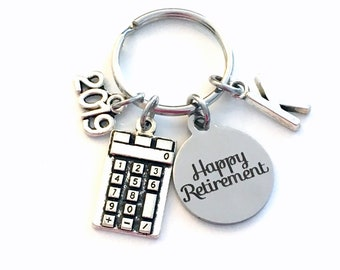 Retirement Gift for Business Man or Woman Keychain, 2019 Accountant CPA Key chain Keyring Retire Initial letter present 2020 math teacher