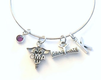 Graduation Gift for CMA Bracelet, Certified Medical Assistant Jewelry, CMA Charm Silver Medical Caduceus women birthstone initial letter her