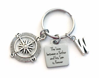 Gift for Son on his wedding day Keychain, The Love between a Father and his Son is Forever Key Chain, Groom Day Keyring, Daddy him step Dad
