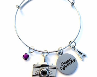 Retirement Gifts for women, Camera woman Photographer Director, Charm Bracelet Jewelry Silver Bangle Coworker initial Present her mother mom