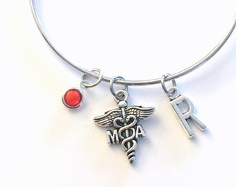 Medical Assistant Bracelet, MA Jewelry, Doctor Assist PA Charm Bangle, Silver Medical Caduceus, Gift for women birthstone her letter initial
