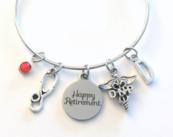 Retirement Gift for DNP Bracelet Nurse Jewelry, Doctor of Nursing Practice Charm Bangle, Silver Medical Caduceus Stethoscope birthstone her
