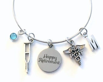 Retirement Gift for PT Bracelet, Physical Therapy Jewelry, Therapist Assistant Charm Bangle, Silver Crutches Crutch Caduceus birthstone her