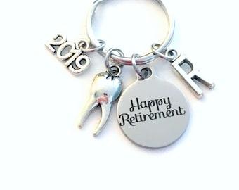 Retirement Gift for Dentist Keychain, 2019 Dental Hygienist Assistant Coworker Key chain Keyring Initial letter present RDH DDS DA men women