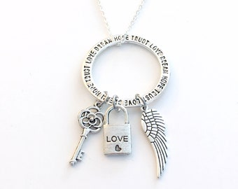 Love Necklace, Bohemian Jewelry, Trust, Dream, Hope Gift for Girlfriend Boho Charm, Key Wing feather pendant Circle ring Initial Birthstone