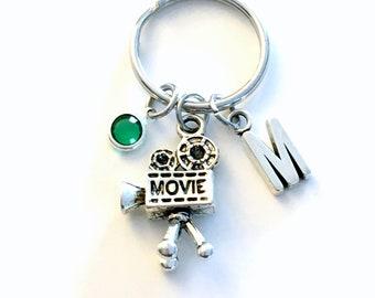 Gift for Film Student keychain, Videographer Key Chain, Camera Keyring, Initial Birthstone women her him thank you present wedding movie men