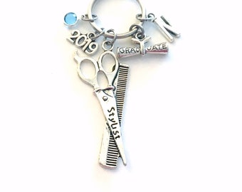 Graduation Gift for Hairdresser Keychain 2019 Present, Cosmetologist Hair Stylist Student Graduate Key Chain Grad Keyring Initial with charm