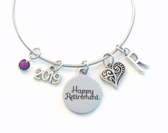 Retirement Gifts for Women Charm Bracelet, 2019 Happy Retirement Jewelry Silver Bangle, for Woman Mother Mom Aunt BFF  birthstone Present
