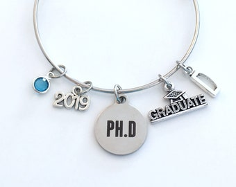 PH D Graduation Bracelet, 2019 PhD Gift for University Student Grad Charm Bangle Jewelry Graduate Doctor  initial birthstone 2019 present