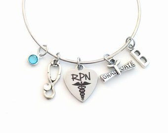 RPN Graduation Bracelet, Registered Practical Nurse Grad Gift,  for Practitioner Student present Silver Bangle custom charm Jewelry her
