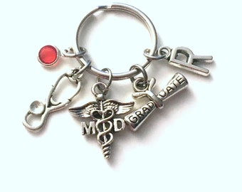 Graduation Gift for MD Keychain, Medical Doctor Key Chain, Physician Graduate Med School Initial Birthstone Present women her him dr