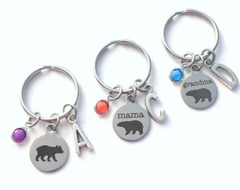 Grandma, Mama, and Baby Bear Keychain, Set of 1 2 3 4 5 6 Matching Key Chain Gift for mom