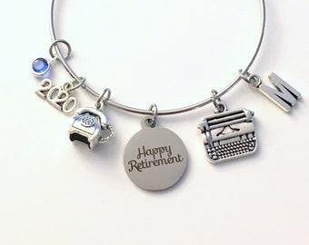 Retirement Gift for Secretary, Receptionist Present 2020 Women Charm Bracelet Jewelry Silver Bangle Coworker initial Birthstone phone 2020