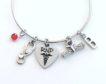 RNP Graduation Bracelet, Registered Nurse Practitioner Grad Gift for RPN Student present Silver Bangle custom charm Jewelry her