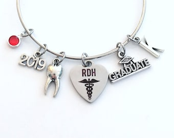 RDH Graduation Gift for Dental Hygienist, 2019 Jewelry Charm Bracelet, Bangle Registered Oral Tooth School Student Silver Graduate assistant