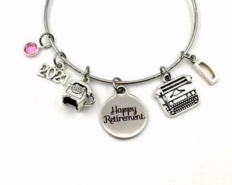 Retirement Gift for Secretary / Receptionist Present / 2021 Women Charm Bracelet Jewelry / Silver Bangle Coworker initial Birthstone phone