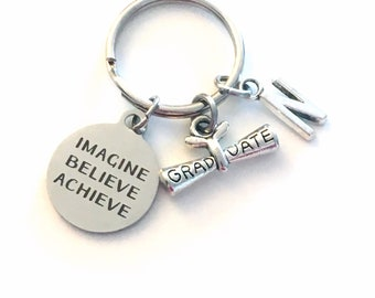 Graduation Gift for Him Keychain, Imagine Believe Achieve 2019 Scroll key chain Keyring women letter initial custom Men College University