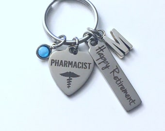 Pharmacist Retirement Gift Key Chain, Rx Keychain for Women Men Retire Key Chain Keyring him her Personalized Employee Owner Druggist