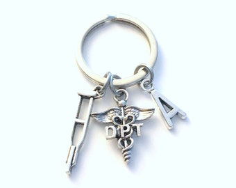 DPT Keychain, Doctor of Physical Therapy Caduceus Key chain, Therapist Keyring, Initial letter her him men women crutches crutch Gift for