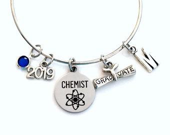 Graduation Gift for Chemistry Grad 2019 Charm Bracelet, Chemist Science Student Silver Bangle custom initial birthstone women her woman