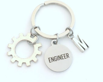 Gift for Mechanical Engineer Keychain, Electronics Degree or Electrical Engineering Key Chain, Mechatronics Keyring Robotics for men women