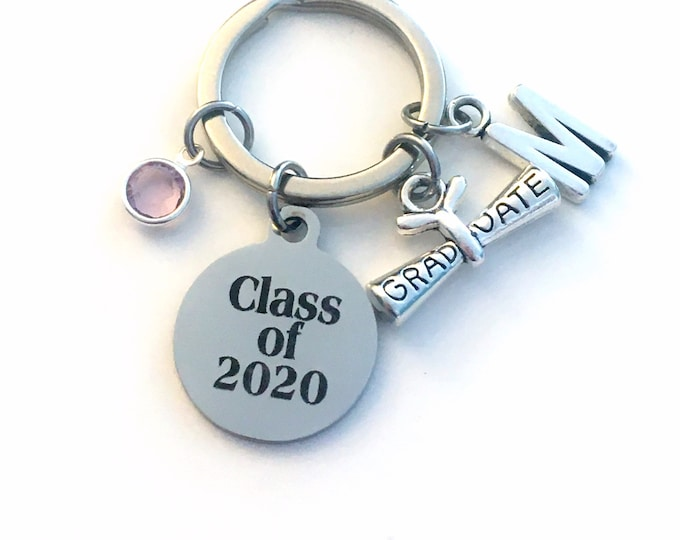 Featured listing image: Class of 2020 KeyChain, or 2018 2017 2019 2021 Grad Key Chain, Gift for Graduate Graduation Scroll Birthstone Initial High School College