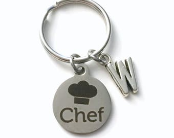 Chef Key Chain, Chef's Hat KeyChain, Pastry Keyring with Initial letter, silver Culinary Student Cooking Charm Hat Cook Man Men Woman him