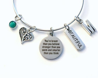You're braver than you believe, stronger than you seem smarter than you think Charm Bracelet / 60mm Gift for Daughter from Mother Father Mom