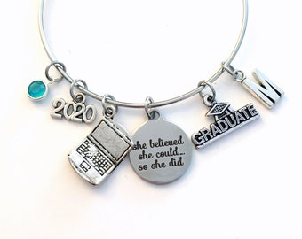 Computer Science Graduation Gift, 2020 Engineer Grad Jewelry for Software Design Bracelet Silver Bangle Graduate Laptop Charm her Business