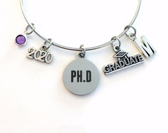 PH D Graduation Bracelet, 2021 PhD Gift for University Student Grad Charm Bangle Jewelry Graduate Doctor  initial birthstone present