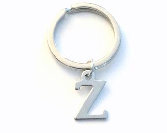 Z Keychain, Any Initial Key Chain, Your choice of Letter Monogram, Key Ring A B C D E F G H I J K L M N O P Q R S T U V W X Y Car accessory
