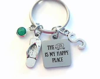 The camper is my happy place Keychain, RV Keyring, Gift for Mothers Day Present, Vacation home Key Chain, Birthstone Initial trailer park