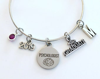 Psychologist Graduation Bracelet, 2019 Psychology Grad Gift for Psych Student Silver Bangle Therapy initial birthstone letter 2020 women her