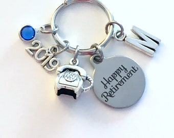 Retirement Gift for Telephone Dispatcher Keychain, Phone Operator Key Chain, 911 Company present for secretary Retire Keyring Initial her