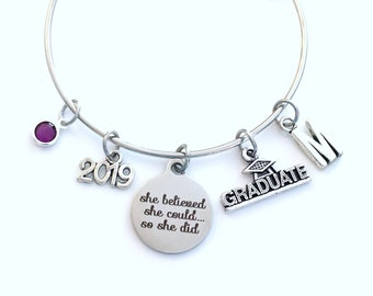 She believed she could so she did Graduation Gift 2019, Charm Bracelet School Student Grad Silver Bangle Jewelry College for her girl 2019