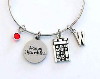Retirement Gift for Business Woman, Bookkeeper Charm Bracelet Jewelry Silver Bangle letter initial birthstone Retire Present Math Teacher