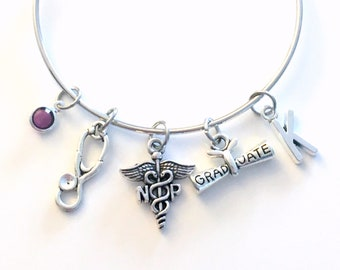 Graduation Gift for Nurse Practitioner Bracelet, NP Jewelry, Nursing Charm Bangle, Silver Medical Caduceus Stethoscope birthstone initial