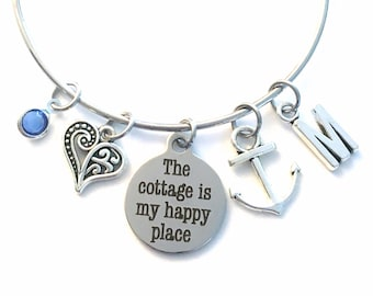 The cottage is my happy place Bracelet, Retirement Gift for Women, Anchor Jewelry, Silver birthstone initial Quote Bangle Heart Charm her