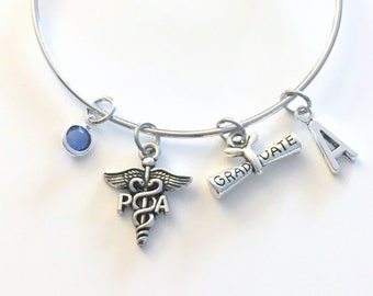 Graduation Gift for PA Bracelet, Physician Assistant Jewelry, Doctor Office Charm, Silver Medical Caduceus women birthstone initial letter