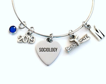 Gift for Sociology Graduation Bracelet, 2019 Social Worker Student Grad Bangle, Jewelry Graduate Charm Scroll Initial women her present 2019
