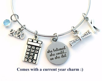 2021 Graduation Gift for High School Student, Calculus Physics Math Engineering Academic Charm Bracelet Junior Bangle Jewelry calculator