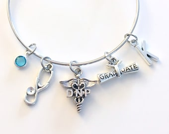 Graduation Gift for DNP Bracelet Nurse Jewelry, Doctor of Nursing Practice Charm Bangle, Silver Medical Caduceus Stethoscope birthstone her