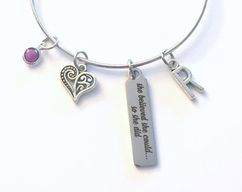 Gift for Daughter Jewelry, She believed she could so she did Bracelet, Silver Charm Bangle birthstone initial graduate scroll her Graduation