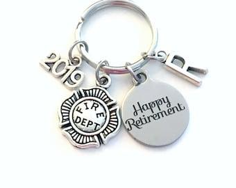 Retirement Gift for Firefighter Keychain 2019 Fireman Key chain Keyring Retire Coworker Initial letter men man Firemen Fire Him Her Dad