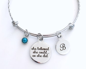 Stainless Steel She believed she could so she did Bracelet Twisted Charm Bangle, Student Grad Silver Jewelry Gift for retirement Graduation