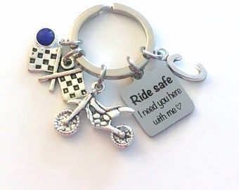 Dirtbike Keychain, Ride safe I need you here with me Key Chain, Motocross Racing Keyring for Her Him, Son Daughter Dirt Bike checkered flag