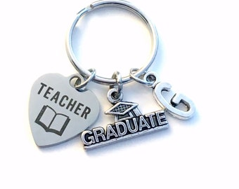 Teacher Graduation Gift, 2019 Education Degree Keychain, Gift for Student Grad Keyring EA Key Chain initial letter custom women Men